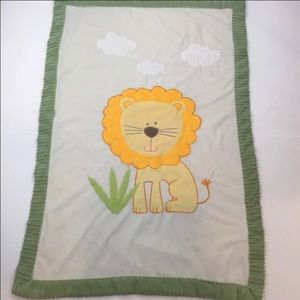 Little Miracles lion white fleece baby blanket